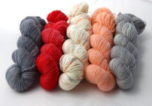 Deep Unrelenting Grey,Scarlette, Fuzzy Peach Specks, Just Peachy & Everyday Grey